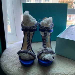 Betsey Johnson Royal Blue Satin Open Toe Sandals